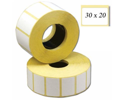 Термотрансферные этикетки, полуглянцевые 30 x 20 (1 ряд, 2000 шт, втулка 40)