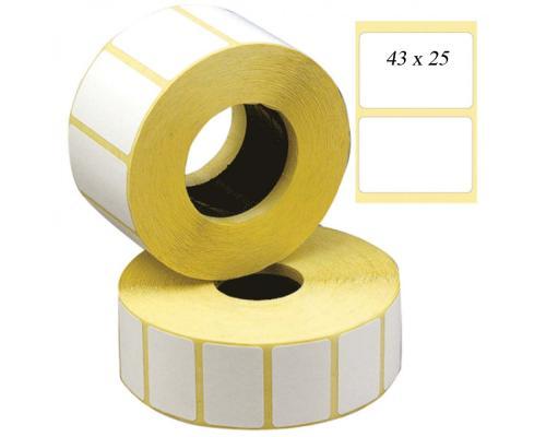 Термотрансферные этикетки, полуглянцевые 43 x 25 (1 ряд, 1000 шт, втулка 40)