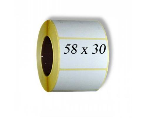 Термотрансферные этикетки, полуглянцевые 58 x 30 (1 ряд, 900 шт, втулка 40)