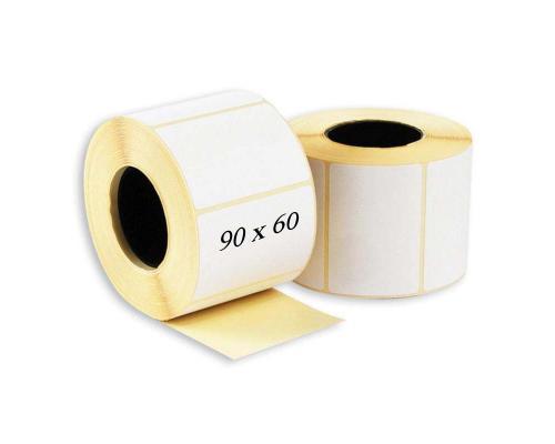 Термотрансферные этикетки, полуглянцевые 90 x 60 (1 ряд, 1000 шт, втулка 40)