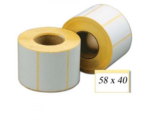 Термотрансферные этикетки, полуглянцевые 58 x 40 (1 ряд, 700 шт, втулка 40)