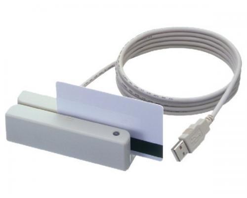 MSR213V-33, считыватель магнитных карт, 1&2&3 дорожки, USB Virtual COM, белый
